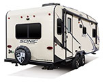 2018 Venture RV Sonic SN231VRL Travel Trailer Exterior Rear 3-4 Door Side
