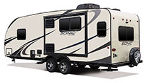 2018 Venture RV Sonic SN231VRL Travel Trailer Exterior Rear 3-4 Off Door Side
