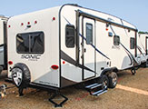 2018 Venture RV Sonic SN231VRL Travel Trailer Show Exterior Rear 3-4 Door Side