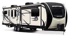 2018 Venture RV SportTrek Touring Edition STT333VFK Travel Trailer Exterior Front 3-4 Door Side