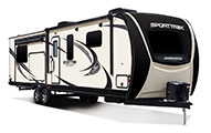 2018 Venture RV SportTrek Touring Edition STT336VRK Travel Trailer Exterior Front 3-4 Door Side