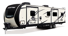 2018 Venture RV SportTrek Touring Edition STT336VRK Travel Trailer Exterior Front 3-4 Off Door Side