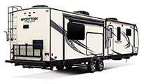 2018 Venture RV SportTrek Touring Edition STT336VRK Travel Trailer Exterior Rear 3-4 Door Side