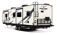 2018 Venture RV SportTrek Touring Edition STT336VRK Travel Trailer Exterior Rear 3-4 Off Door Side