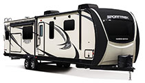 2018 Venture RV SportTrek Touring Edition STT343VIK Travel Trailer Exterior Front 3-4 Door Side