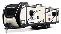 2018 Venture RV SportTrek Touring Edition STT343VIK Travel Trailer Exterior Front 3-4 Off Door Side