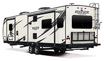 2018 Venture RV SportTrek Touring Edition STT343VIK Travel Trailer Exterior Rear 3-4 Off Door Side