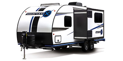 2020 Venture RV Sonic X SN211VDBX Travel Trailer Exterior Front 3-4 Off Door Side with Slide Out