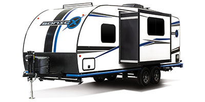 2020 Venture RV Sonic X SN220VRBX Travel Trailer Exterior Front 3-4 Off Door Side with Slide Out