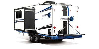 2020 Venture RV Sonic X SN220VRBX Travel Trailer Exterior Rear 3-4 Off Door Side with Slide Out