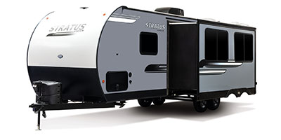 2020 Venture RV Stratus SR281VBH Travel Trailer Exterior Front 3-4 Off Door Side with Slide Out shown in Aztec Grey