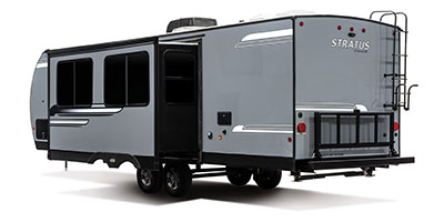 2020 Venture RV Stratus SR281VBH Travel Trailer Exterior Rear 3-4 Off Door Side with Slide Out shown in Aztec Grey