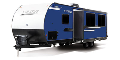 2020 Venture RV Stratus SR281VBH Travel Trailer Exterior Front 3-4 Off Door Side with Slide Out