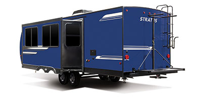 2020 Venture RV Stratus SR281VBH Travel Trailer Exterior Rear 3-4 Off Door Side with Slide Out
