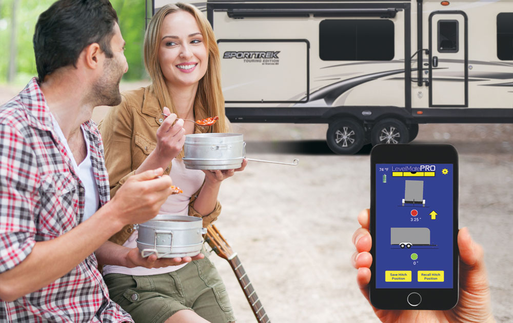 Venture RV Level Mate PRO Wireless Vehicle Leveling System Smartphone App being used with Travel Trailer